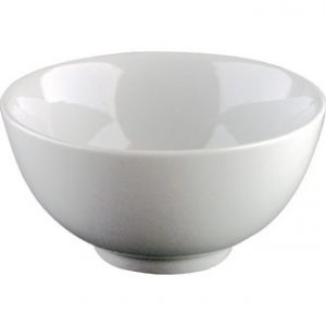 White china rice bowl