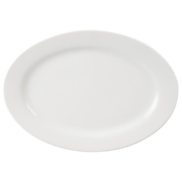 White china 20 inch oval serving plate