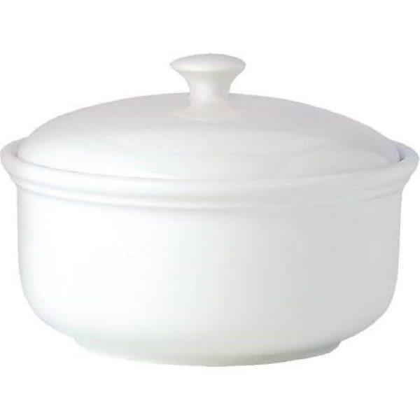 White china casserole dish with lid