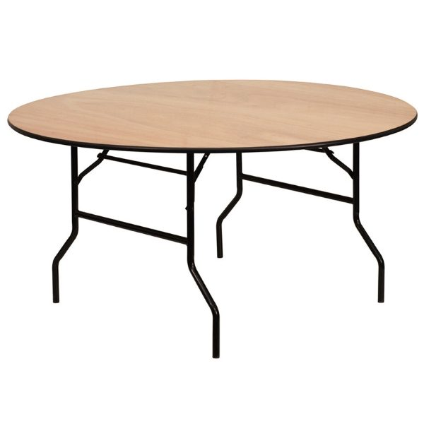 Round wooden dining table with folding metal legs