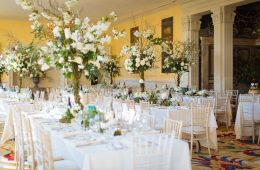 Limewash chairs, Reserva glassware and white linen at the Lost Orangery