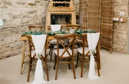 Rustic crossback chairs and rustic trestle tables