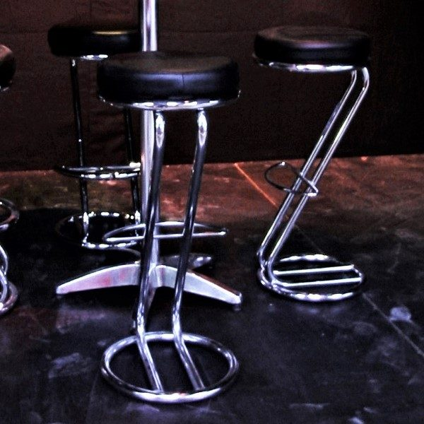 Aluminium & black bar stools