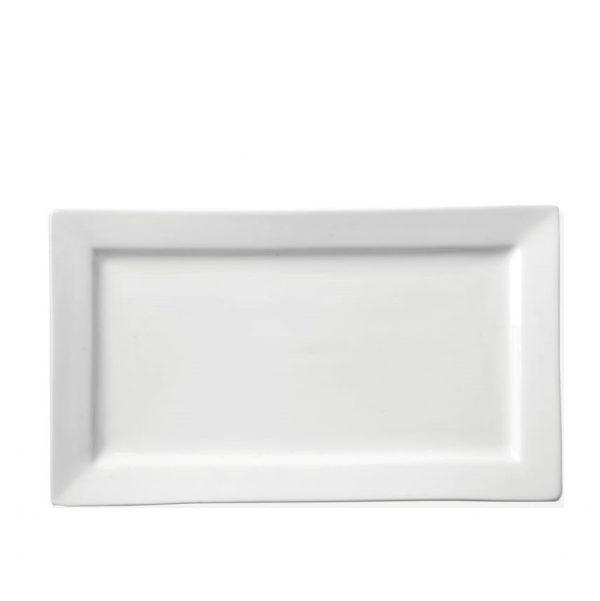 White china rectangular plate