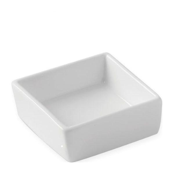 White china square dish