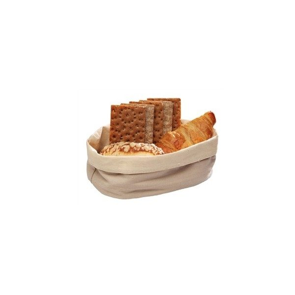 Oval canvas bread serving basket