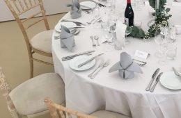 Classic wedding with white and pebble grey linen, Verdi cutlery, Reserva glassware and Classic white crockery