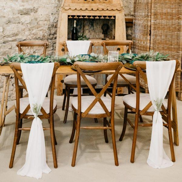 Rustic wooden oak crossback chairs