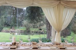 Spring table layout with Arabian Sand linen