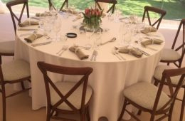 Party marquee with Crossback chairs and Olive linen