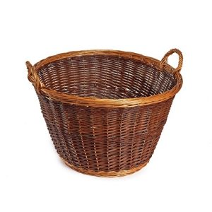 Large dark wicker log basket