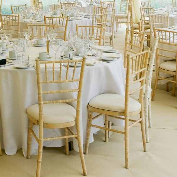 Limewash chaivari/camelot/bamboo banqueting chair with ivory seat pads