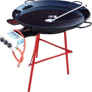 1m wide enamelled paella pan and burner