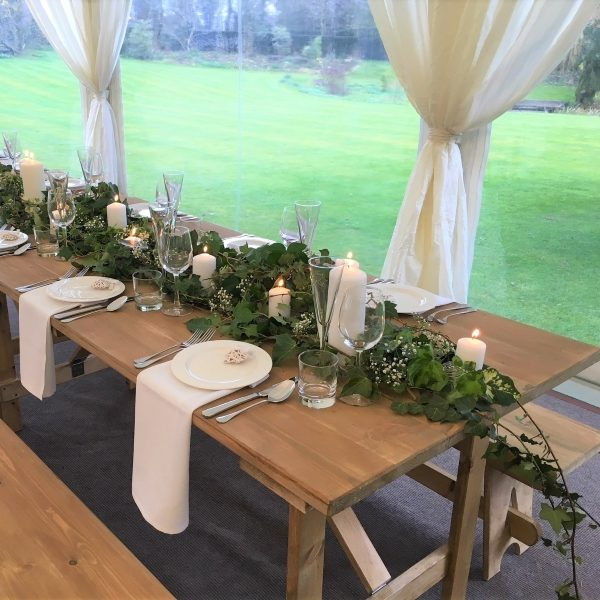 Handmade 3ft wide rustic dining trestle with rustic wooden benches