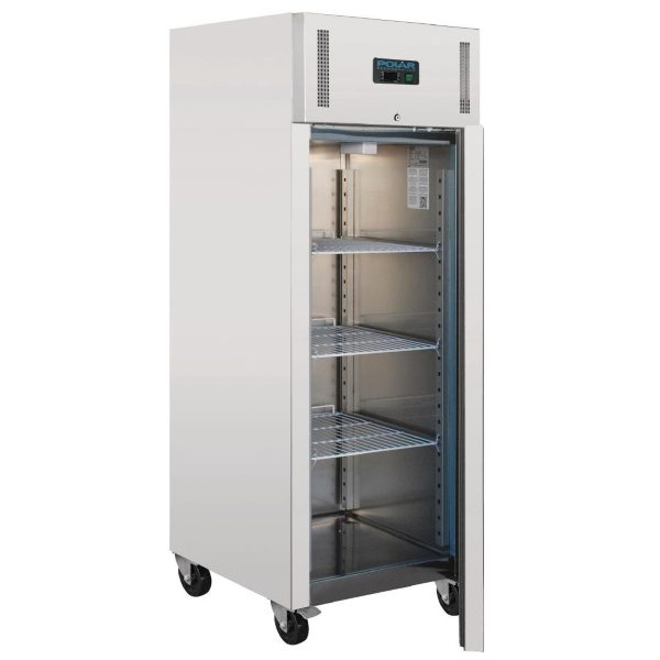 Stainless steel tall upright catering fridge