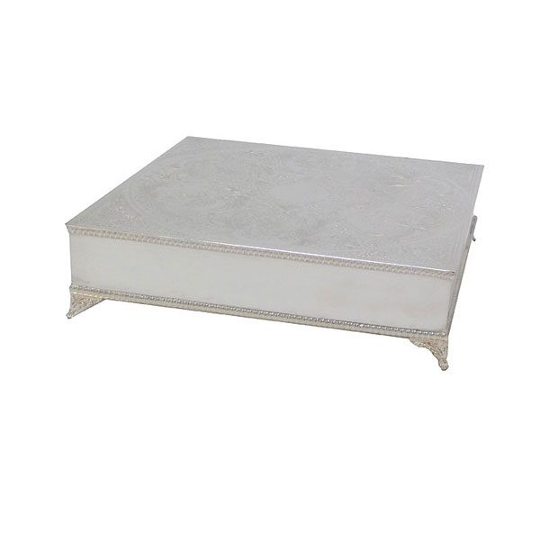 EPNS silver square cake stand