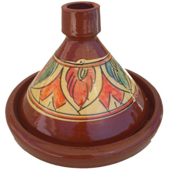 Moroccan handmade terracotta patterned tagine