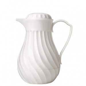 White plastic insulated thermos jug