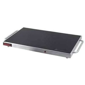 Stainless steel and black glass tabletop warming tray